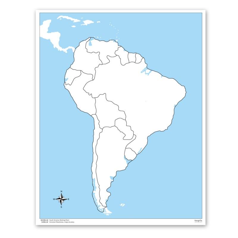 Sudamerika Arbeitskarte Unbeschriftet
