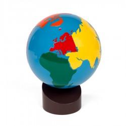 Globe met de werelddelen