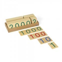 Große hölzerne Zahlenkarten im Kasten 1-9000