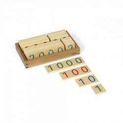 Kleine hölzerne Zahlenkarten im Kasten 1-9000