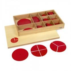 Pudełko z plastikowymi kółkami do ułamków
